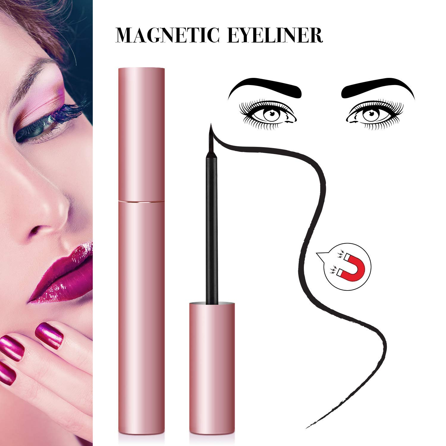 Advanced Magnetic Eyeliner And Magnetic Eyelashes Kit With Tweezers, Easy To Use(Doha) by Vassoull