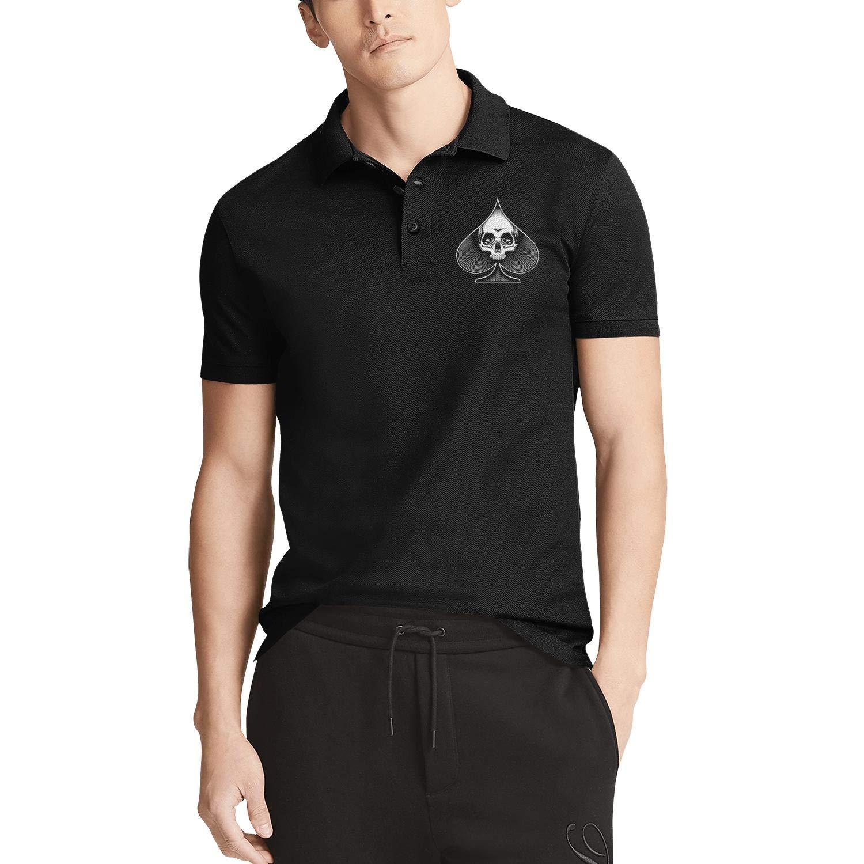 WYFEN Men Printed Polo Shirt Skull in Spade Symbol Classic Short Sleeve Tee