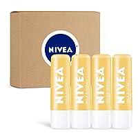 NIVEA Milk & Honey Lip Care - Moisturized Lips All Day - 0.17 oz Tube - 4 Pack