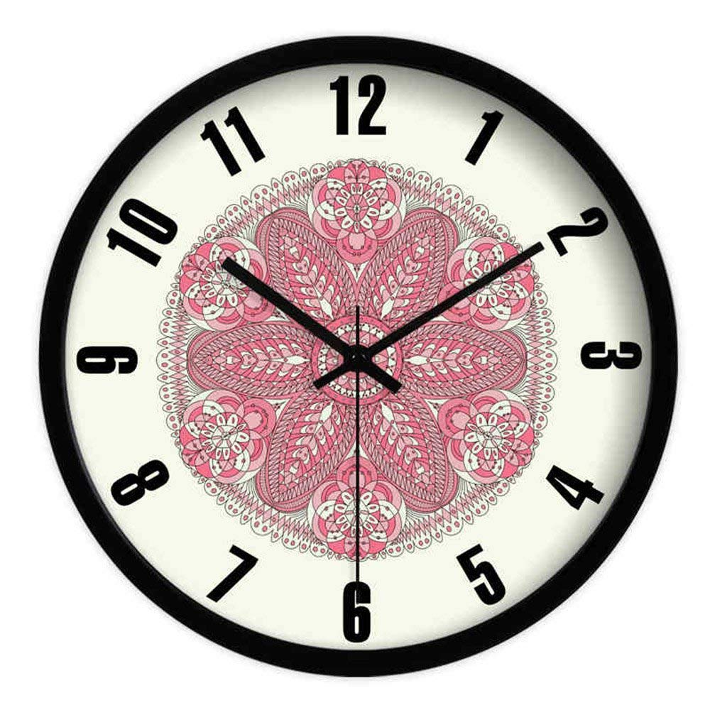 CWJ Clock- Wall Clock Metal Simple Personality Quiet Clock (10 Inches/12 Inches /14 Inches) Mute Clock Creative Floral Living Room Decoration Bedroom Wall Clock Quartz Clock Wall Decoration Artwork,1