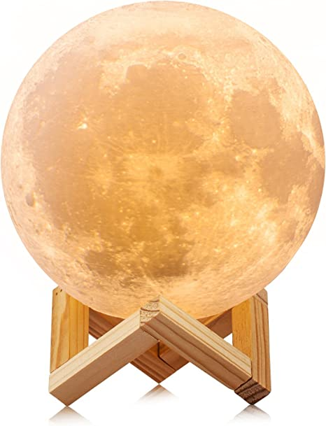 ACED 3D Printing 4.7Inch Moon Light Lamp Baby Night Light, Dimmable Color Changing, Touch Battery Operated LED Moonlight Lamps for Bedrooms, Father's Day Gifts, Cool Christmas Gifts for Kid Teens - -