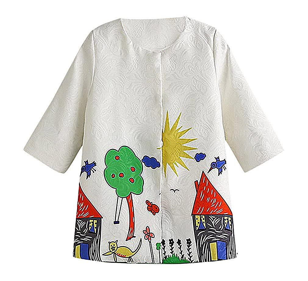 Sweety Girls White Jacquard /& Colorful Kids Drawing Button Up 3//4 Sleeve Coat