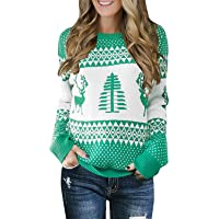 Gemijack Womens Ugly Christmas Sweater Casual Chunky Cute Reindeer Xmas Holiday Pullover Cable Knit Jumper