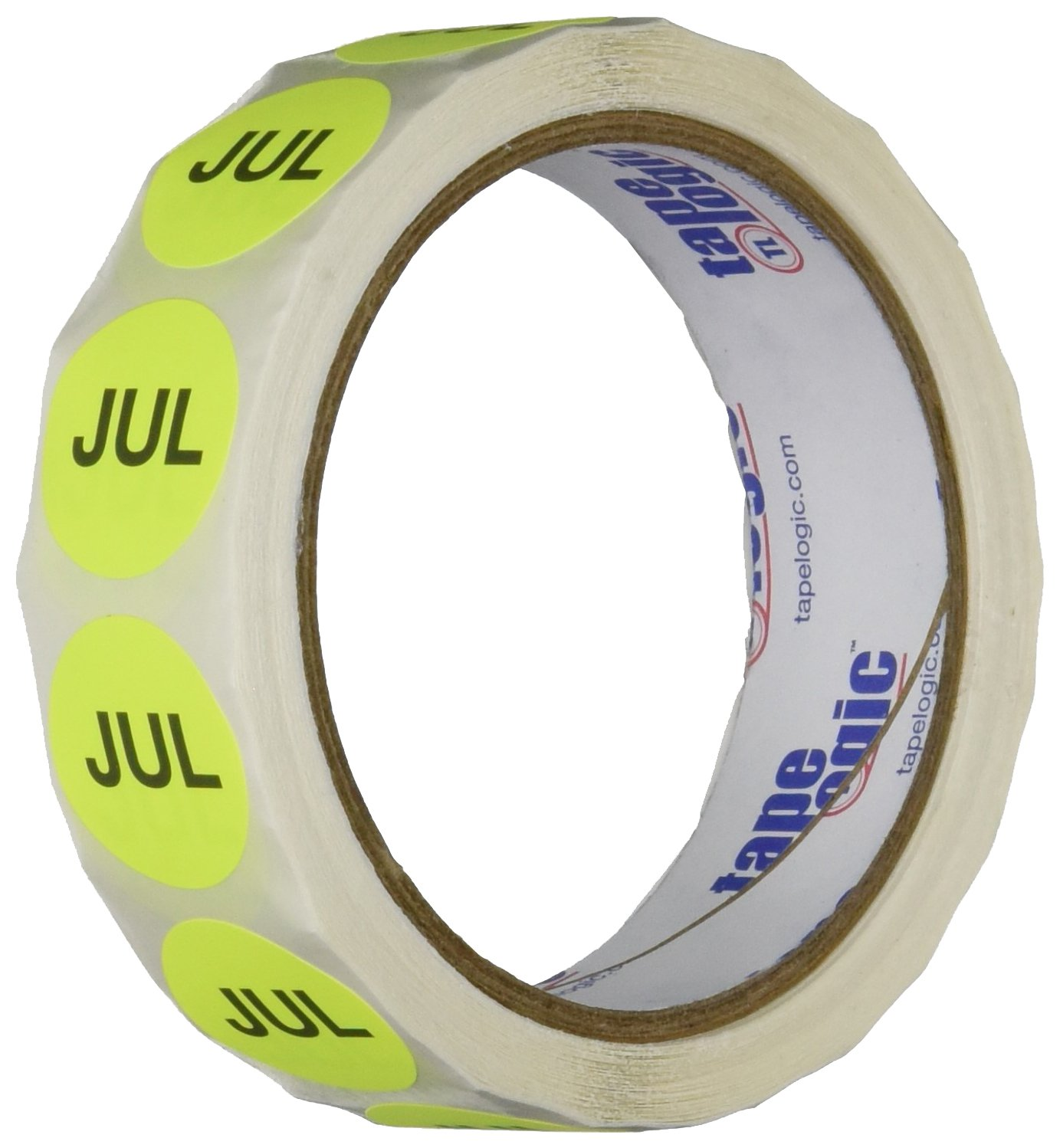 Pack of 500 Pack of 500 1 Width 1 Height 4 Length 1 Width RetailSource Ltd Fluorescent Yellow Months of the Year Labels 1 Height RetailSource DL6729x1 1 Circle -JUL, 4 Length