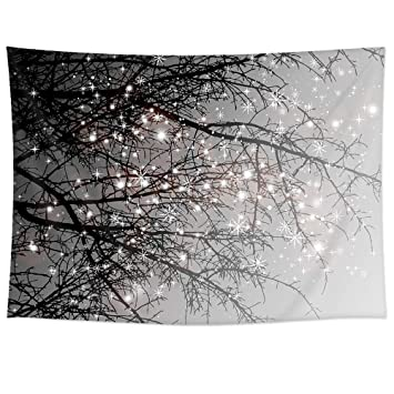 Ileadon Tapestry Grey Tree Wall Hanging Polyester Fabric Wall Decor For Bedroom 51 H X 60 W Grey Tree