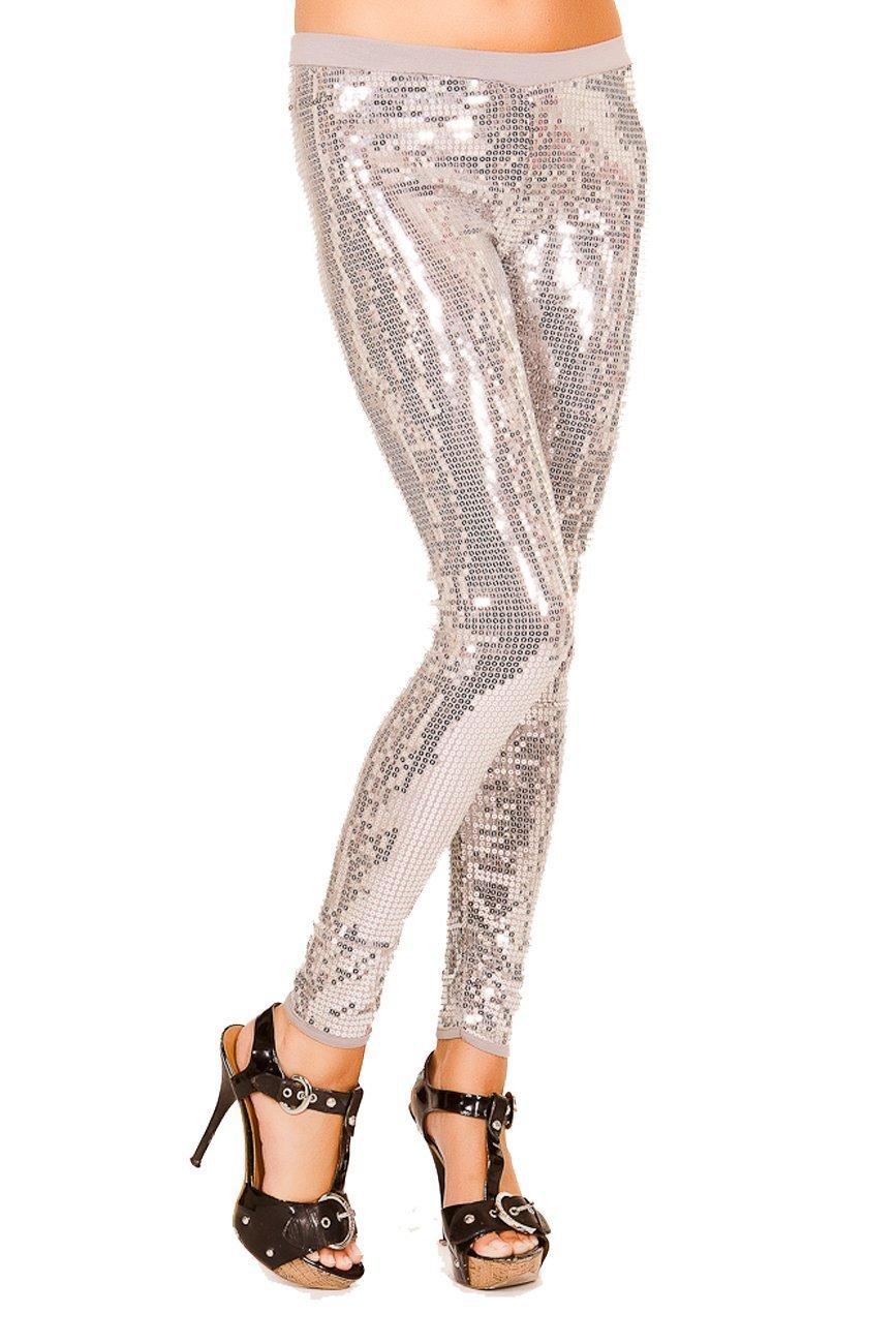 Just One Women's Embellished Sequin Legging, Silver, Medium,Silver,Medium