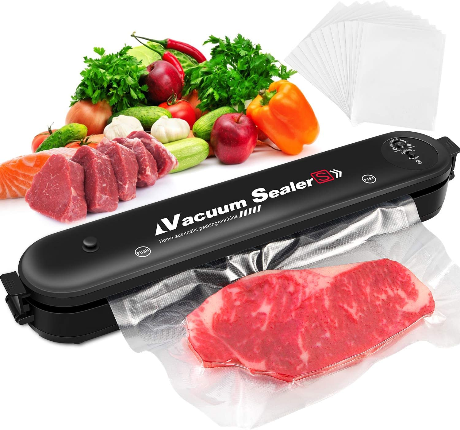Viajero Vacuum Sealer Machine, Automatic Food Savers Machine for Food Preservation with Starter Kit, Compact Design, Easy to Clean, Led Indicator Lights, Dry & Moist Food Modes, 15 Pcs Bags include