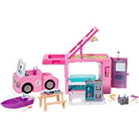 Barbie 3-in-1 DreamCamper Vehicle, approx. 3-ft, Transforming Camper with Pool, Truck, Boat and 50 Accessories, Makes a…