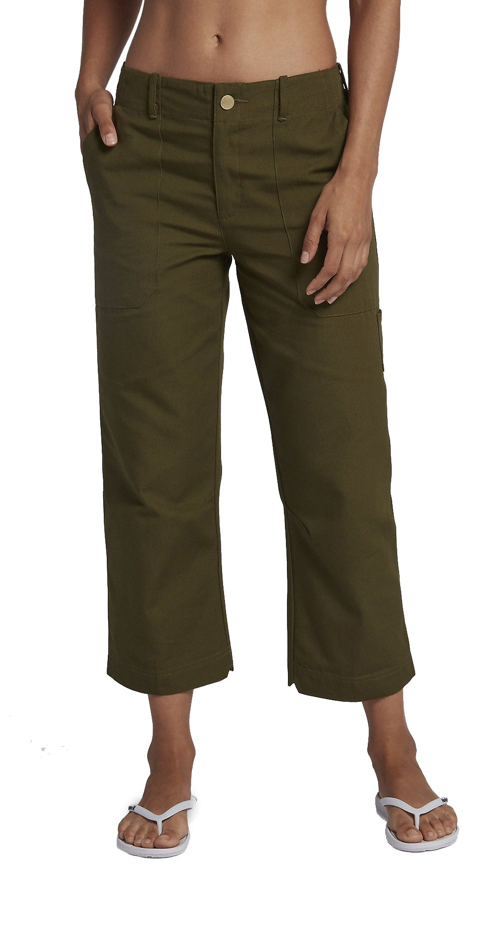 Hurley Women's AJ3564 Lowrider Wide Leg Pant, Olive Canvas - 9