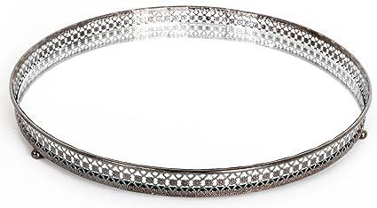 Carousel Home - Bandeja para velas, 25 cm, con vidrio espejo, color plateado