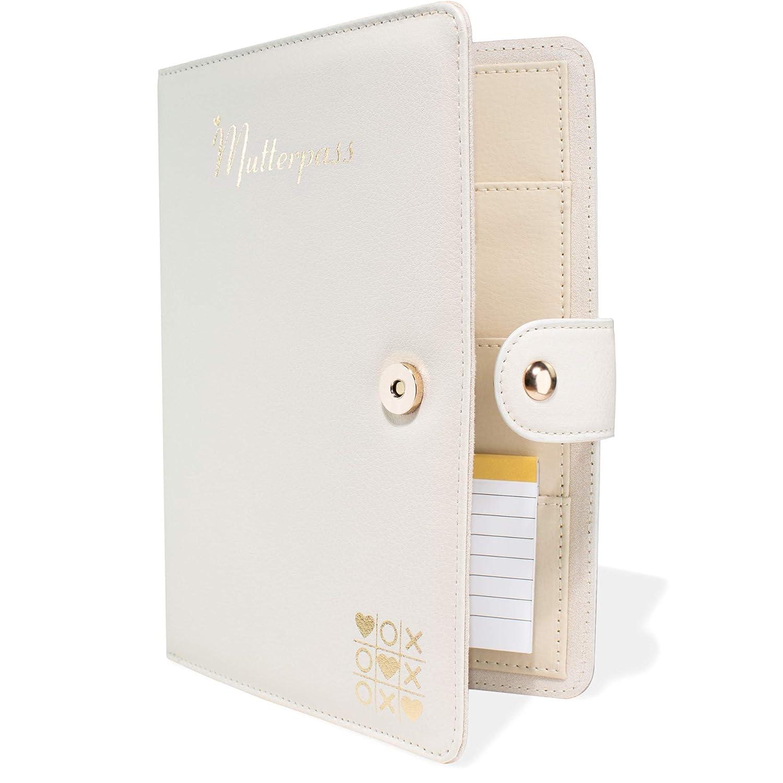 Mutter-Kind-Pass Mutterpassh/ülle aus 100/% Echtleder GOMANZAY/® Organizer mit Magnetverschluss Deutscher Mutterpass Inklusiv Kleines Notizheft Mutterpass