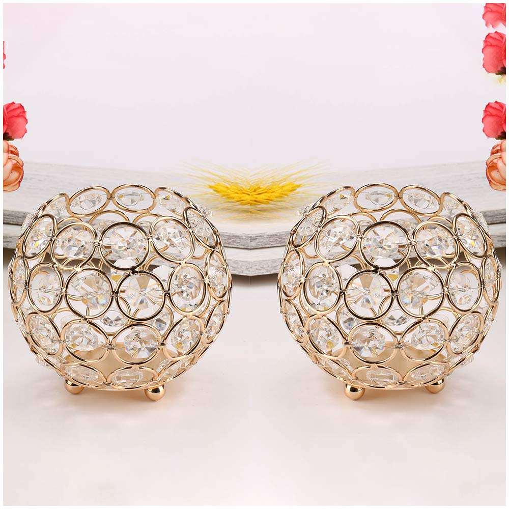 Admirable Amazon Com Micozy Gold Crystal Bowl Candle Holders Interior Design Ideas Inesswwsoteloinfo