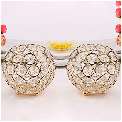 Micozy Gold Crystal Bowl Candle Holders Centerpieces For Dining Room TableThanksgiving Home Decoration Candelabra