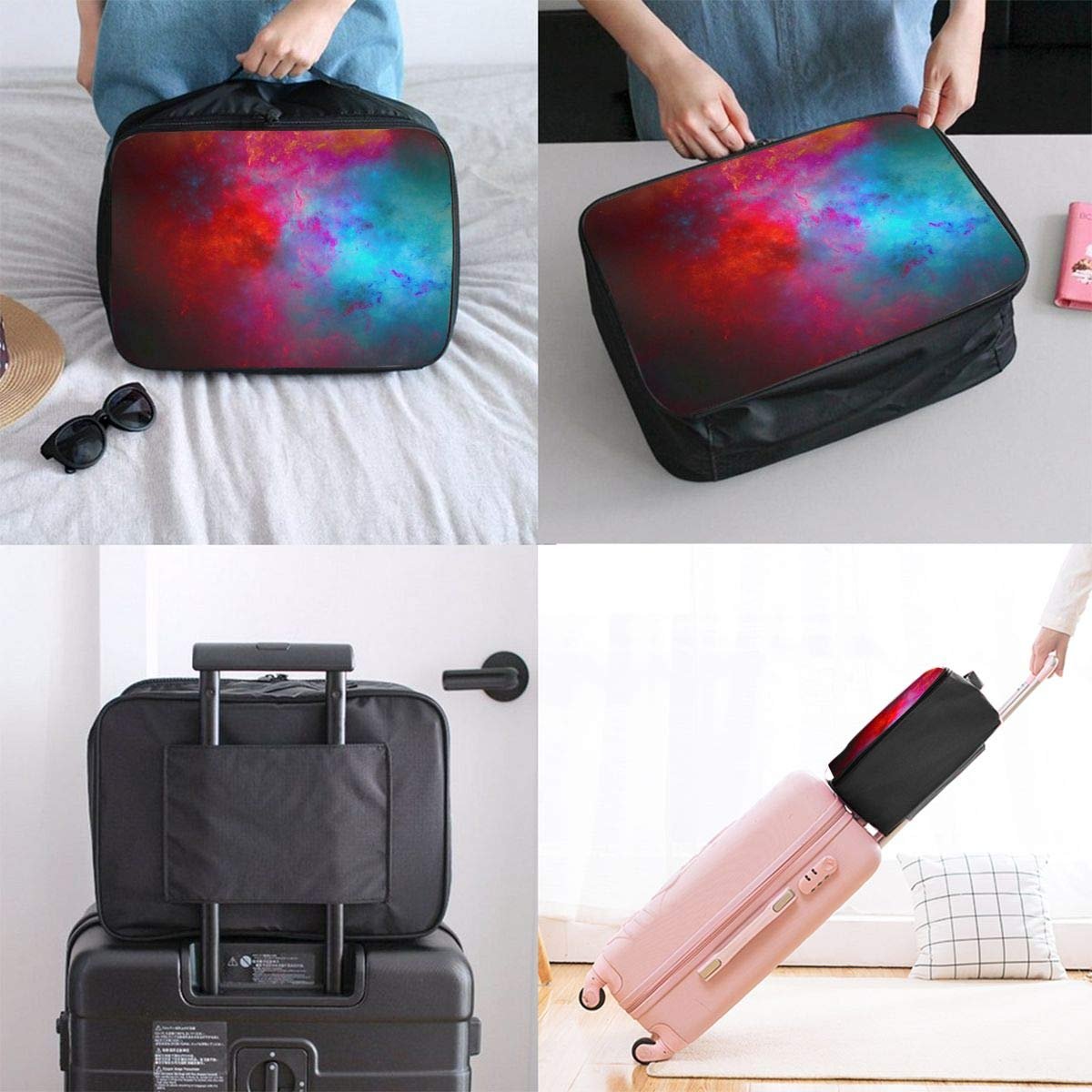 YueLJB Colorful Wallpapers Lightweight Large Capacity Portable Luggage Bag Travel Duffel Bag Storage Carry Luggage Duffle Tote Bag
