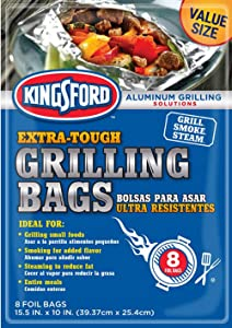 Kingsford Extra Tough Aluminum Grill Bags, for Locking in Flavors & Easy Grill Clean Up, Recyclable & Disposable, 15.5 x 10, Pack of 8