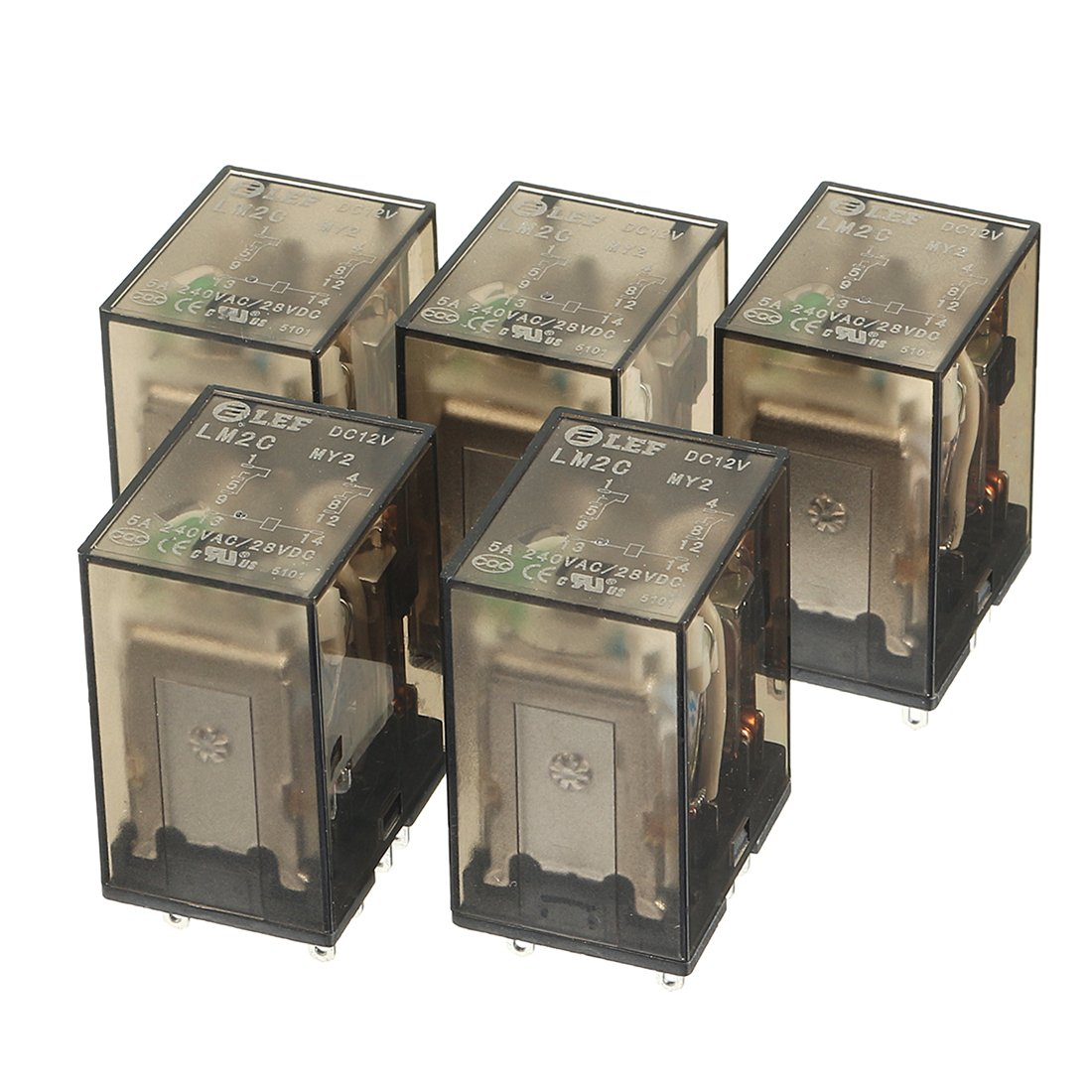 uxcell 5Pcs DC 12V Coil 5A 240VAC 28VDC DPDT 2NO+2NC 8Pin Power Electromagnetic Relay with Indicator Light