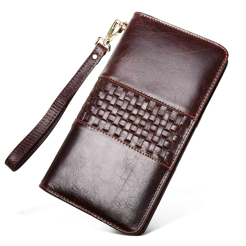 EoCot Mens Clutch Braided Handbag Genuine Leather Long Wallet Large Capacity Money Clip