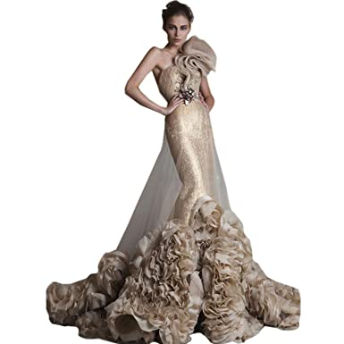 dressvip Backless One Shoulder Ruffled Gold Sequin Mermaid Evening Dresses (UK24)