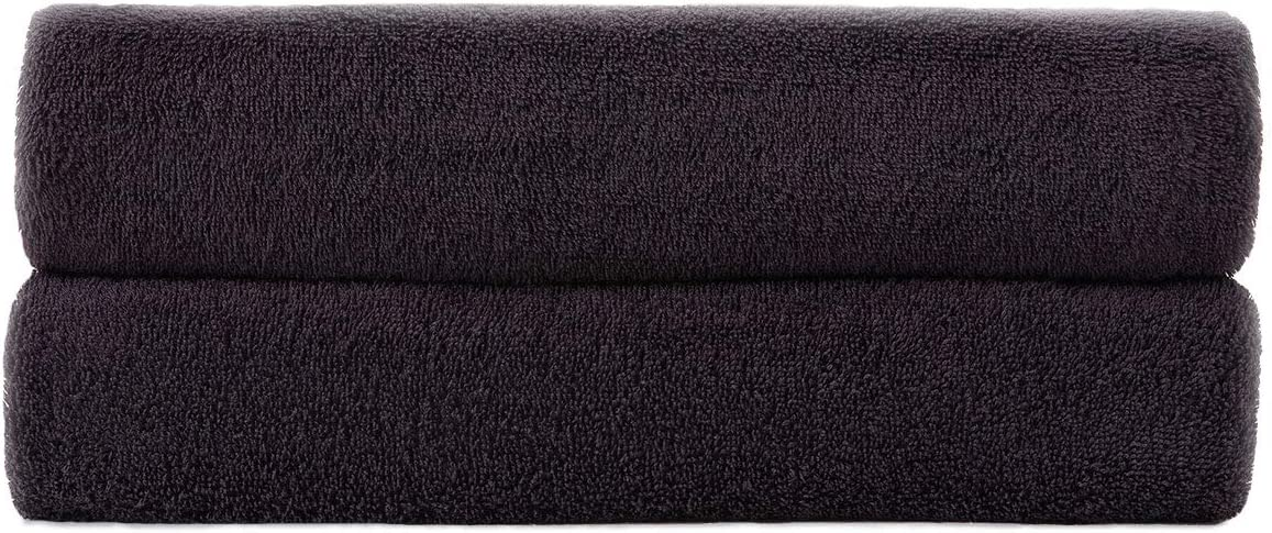 Simba&Coco 2-Piece Bath Towel Set for Bathroom 100% Ring Spun Cotton 600GSM Super Soft Highly Absorbent Extra Large Bath Towels 27x54 Inch (Black): Home & Kitchen