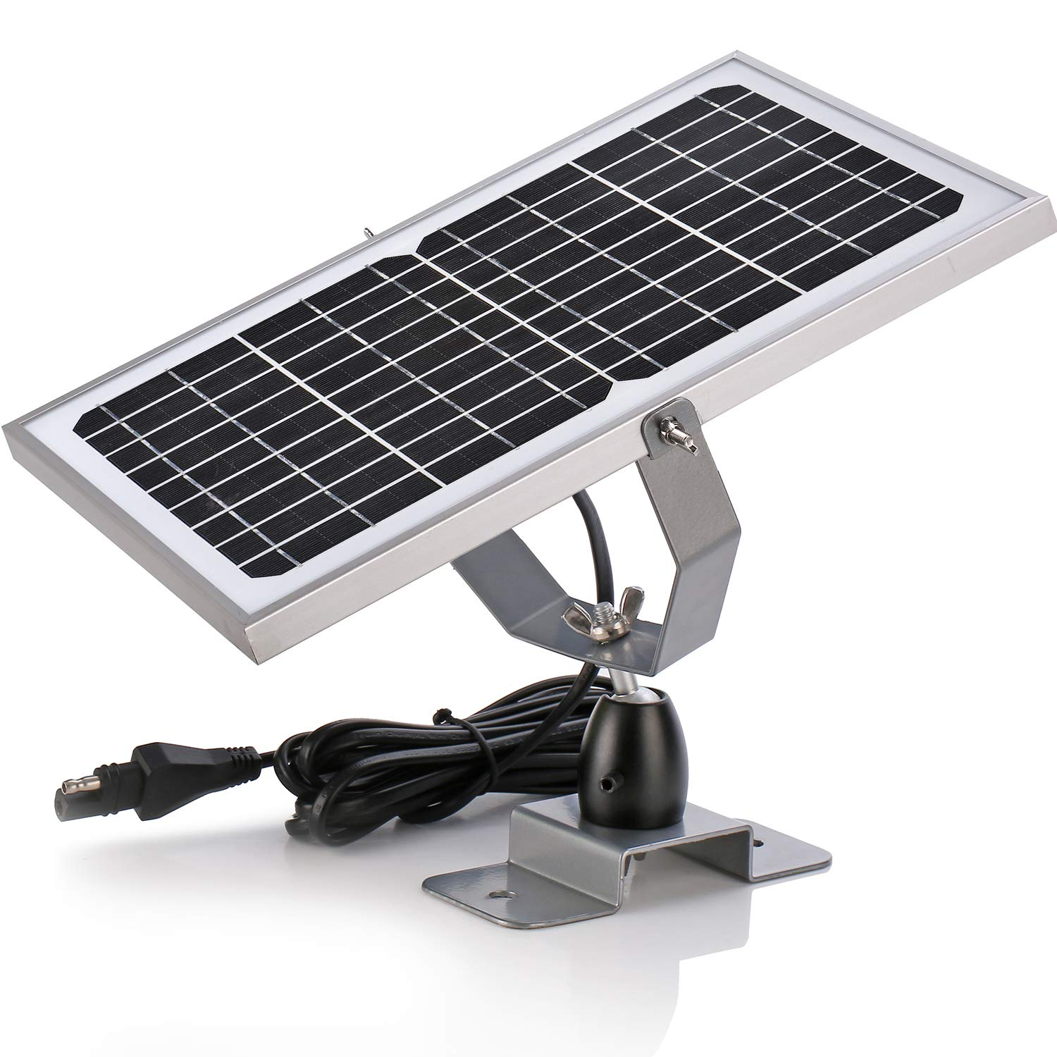 SUNER POWER 12V Waterproof Solar Battery Trickle Charger & Maintainer - 10 Watts Solar Panel Built-in Intelligent MPPT Solar Charge Controller + Adjustable Mount Bracket + SAE Connection Cable Kits by SUNER POWER
