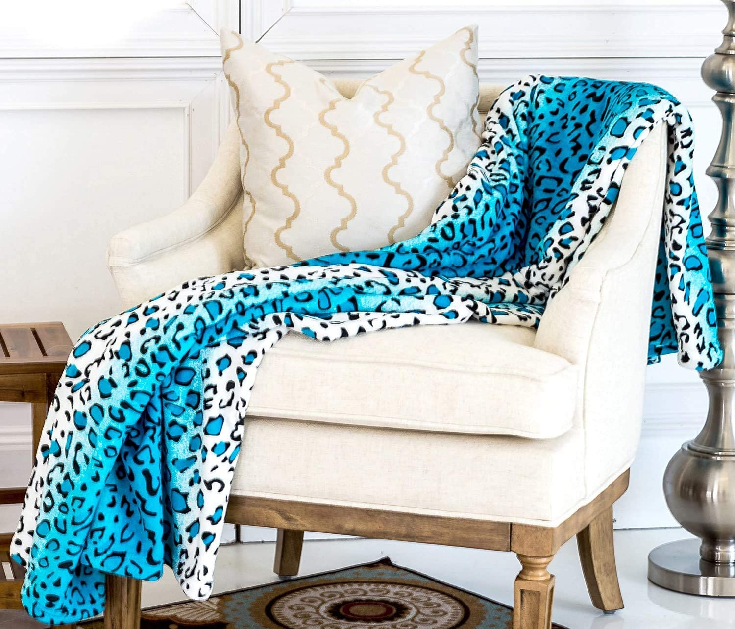 Home Must Haves Soft Warm Throw Turquoise Leopard Printed Flannel Blanket Bedding King Size