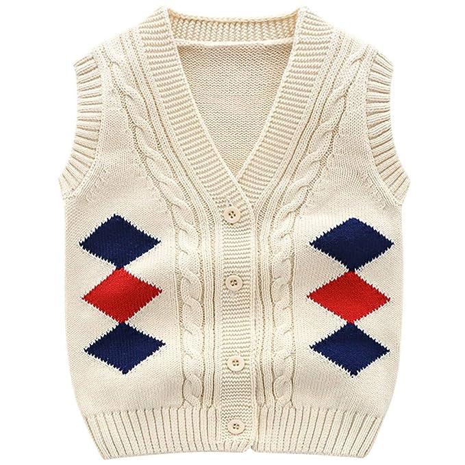 66b1093ca Amazon.com  Baby Boys Girls Premium Cardigan Sweater Vest Knitted ...