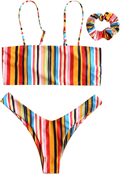 Piece Rainbow Bandeau Leg Womens Cami With Bikini Headband Two Strap Set Swimsuit High mNnwOv08