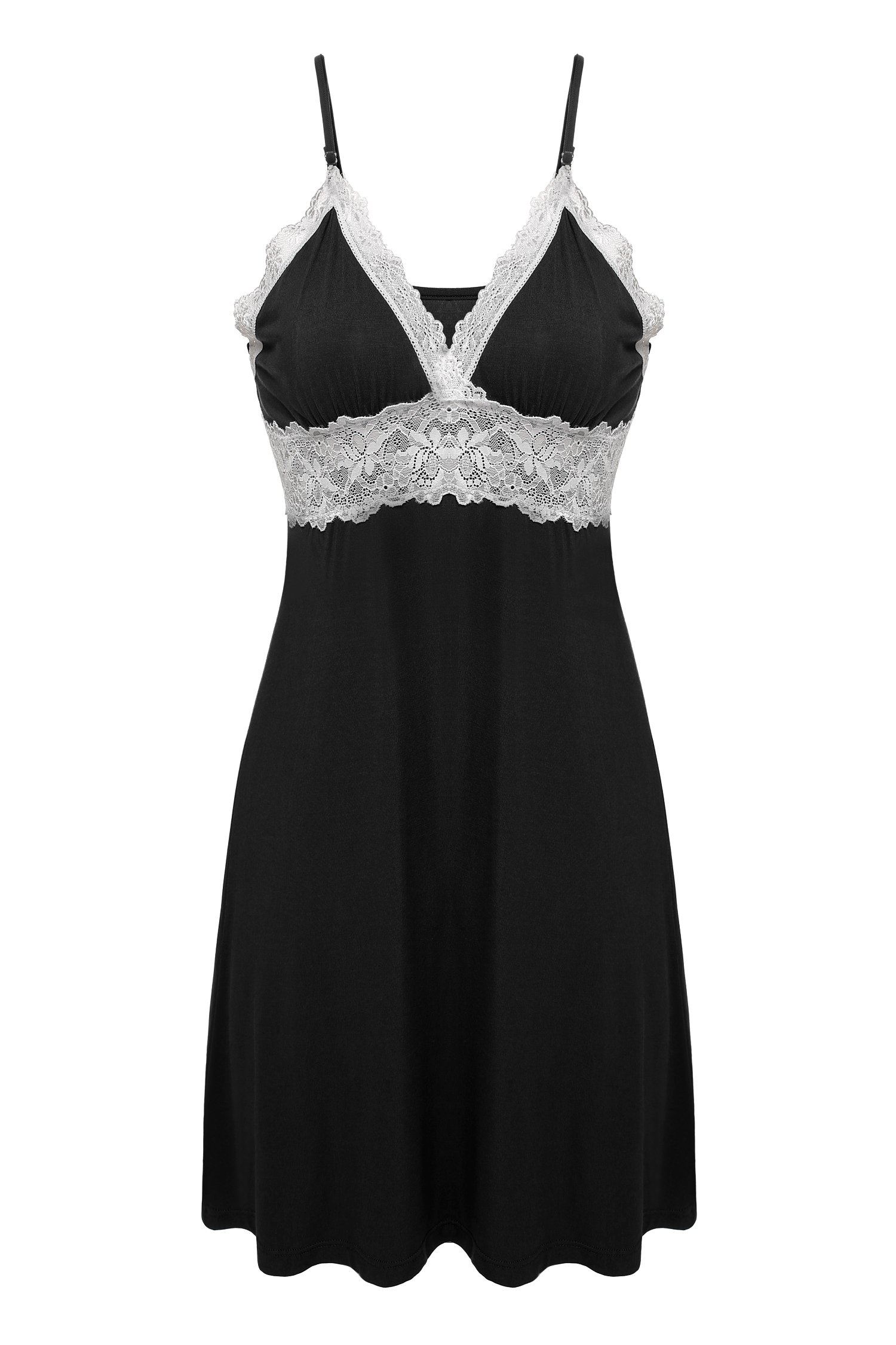 5bbe5c93424 Ekouaer Sleepwear Womens Chemise Nightgown Full Slip Lace Lounge Dress