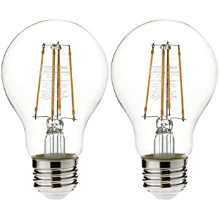 AmazonBasics 25 Watt Equivalent, Clear, Dimmable, A19 LED Light Bulb | 2-Pack