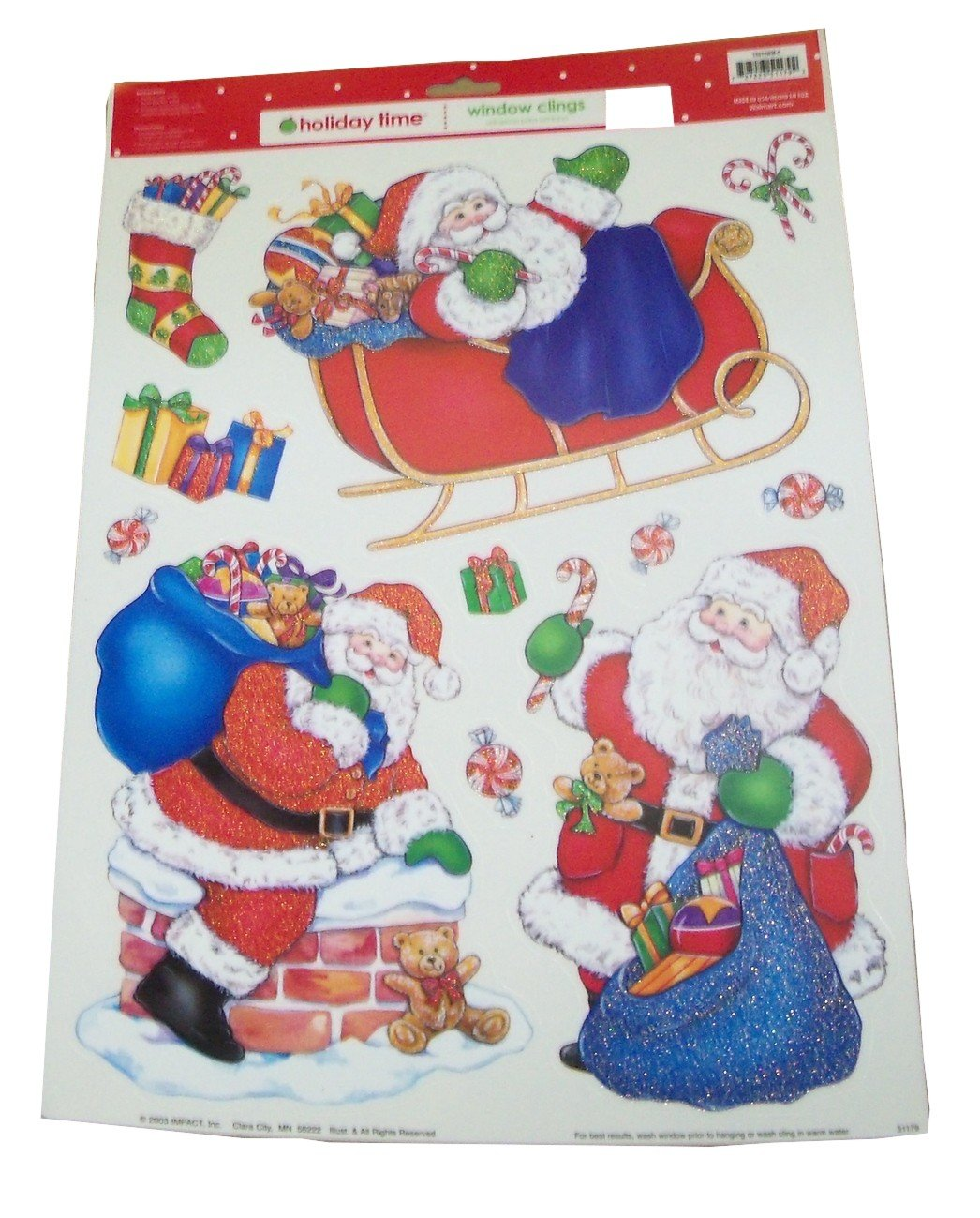 Christmas Glitter Reusable Window Clings ~ Santa on the Night Before Christmas (23 Clings, 1 Sheet)