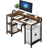 oneinmil Computer Desk with Hutch, Home Office Table with Keyboard Tray, Rustic Brown Compact Writing Desk with Open…
