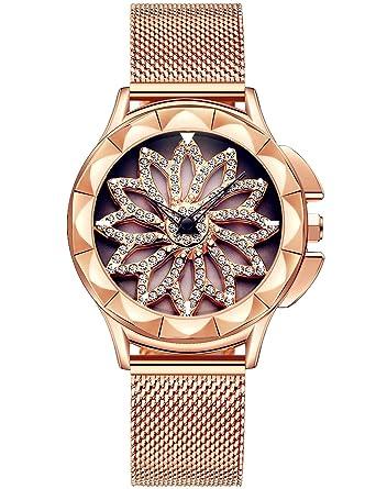 Reloj Mujer Dorado Moda Relojes Para Mujer Reloj Damas De Malla Impermeable Relojes De Pulsera De Cuarzo AnalóGico Para Mujer Oro Rosa Con Dial diamante: ...