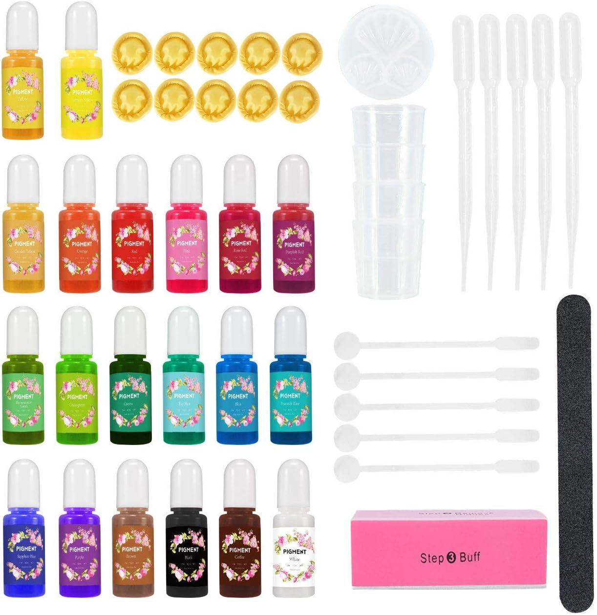 Colorante Resina Epoxi 20 Colores, Gifort Pigmento de Resina Epoxi Líquida Transparente Concentrada, Tinte de Bomba de Baño Natural para la Fabricación de Jabón, Pintura, Artesanal, 20 x 10ml