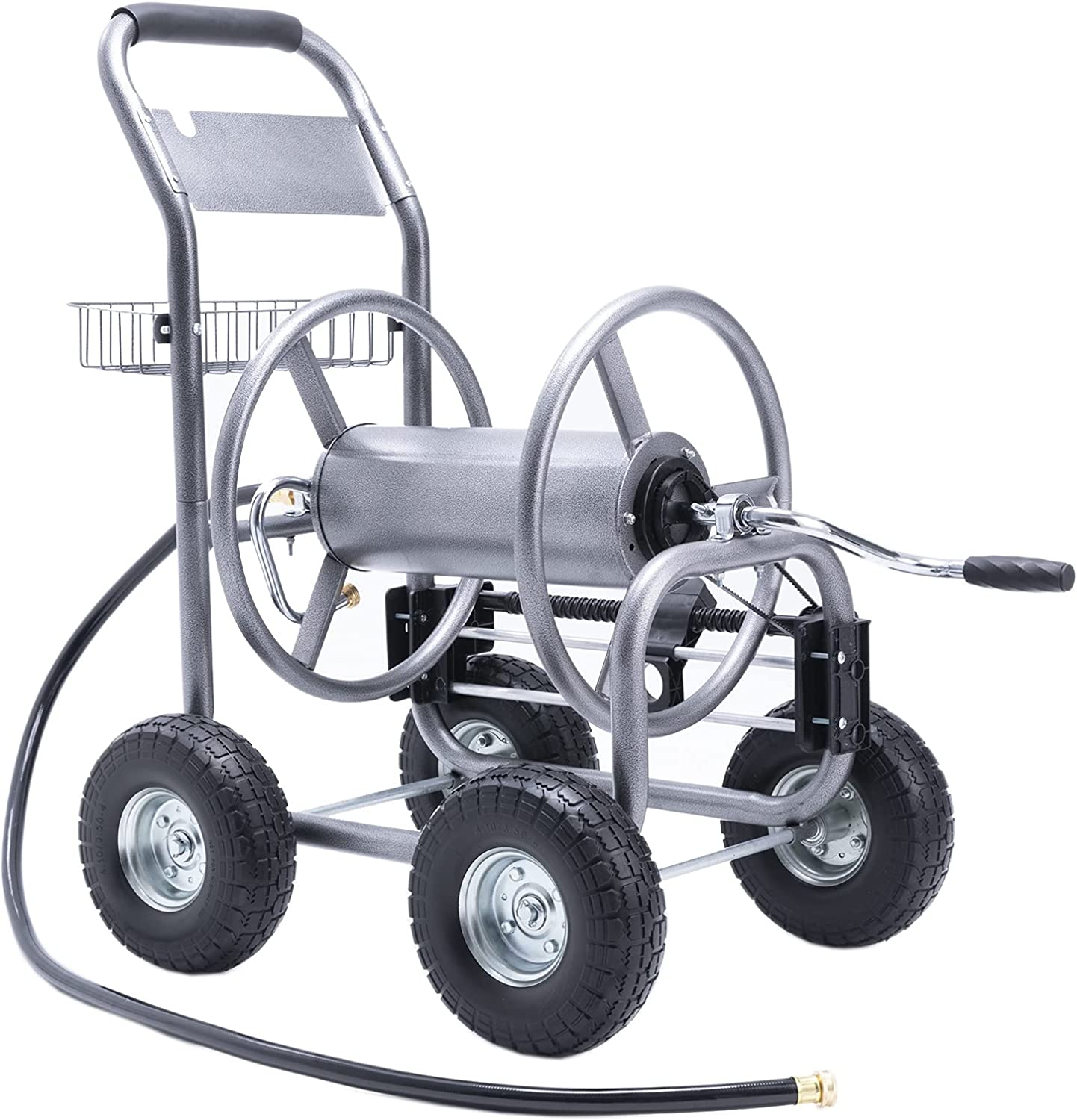 """Giraffe Tools 5/8""""x 250' Garden Hose Reel Cart, Portable Hose Organizer with 4 Solid Wheels, Hose Guide System, for Industrial and Family Yard, Garden, Farm and Patio"""
