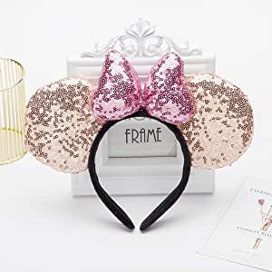 Cosplay Costume Mouse Ears Headband,Calar Sequin Mice Ears Headband Glitter Bow Headband for Boys and Girls Birthday Party Mom Baby Hairs Accessories Girl Headwear (3D-Champagne)