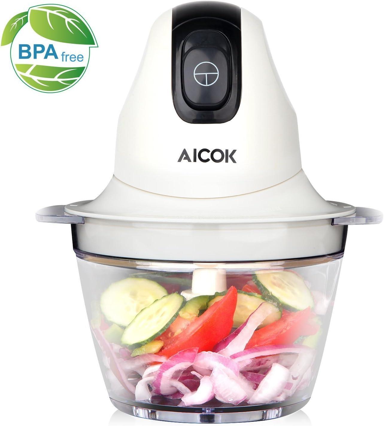 Picadora Multiusos AICOK, 300W Picadora de Alimentos Eléctrica ...