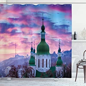 Ambesonne Wanderlust Decor Collection, Sunset and Cloud Over Cityscape Kiev Ukraine Europe Building Evening, Polyester Fabric Bathroom Shower Curtain, 84 Inches Extra Long, Green Blue