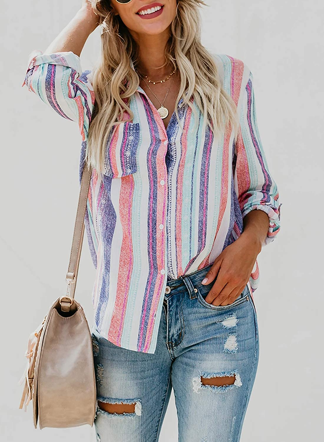 Astylish Women V Neck Striped Roll up Sleeve Button Down Blouses Tops at  Women's Clothing store