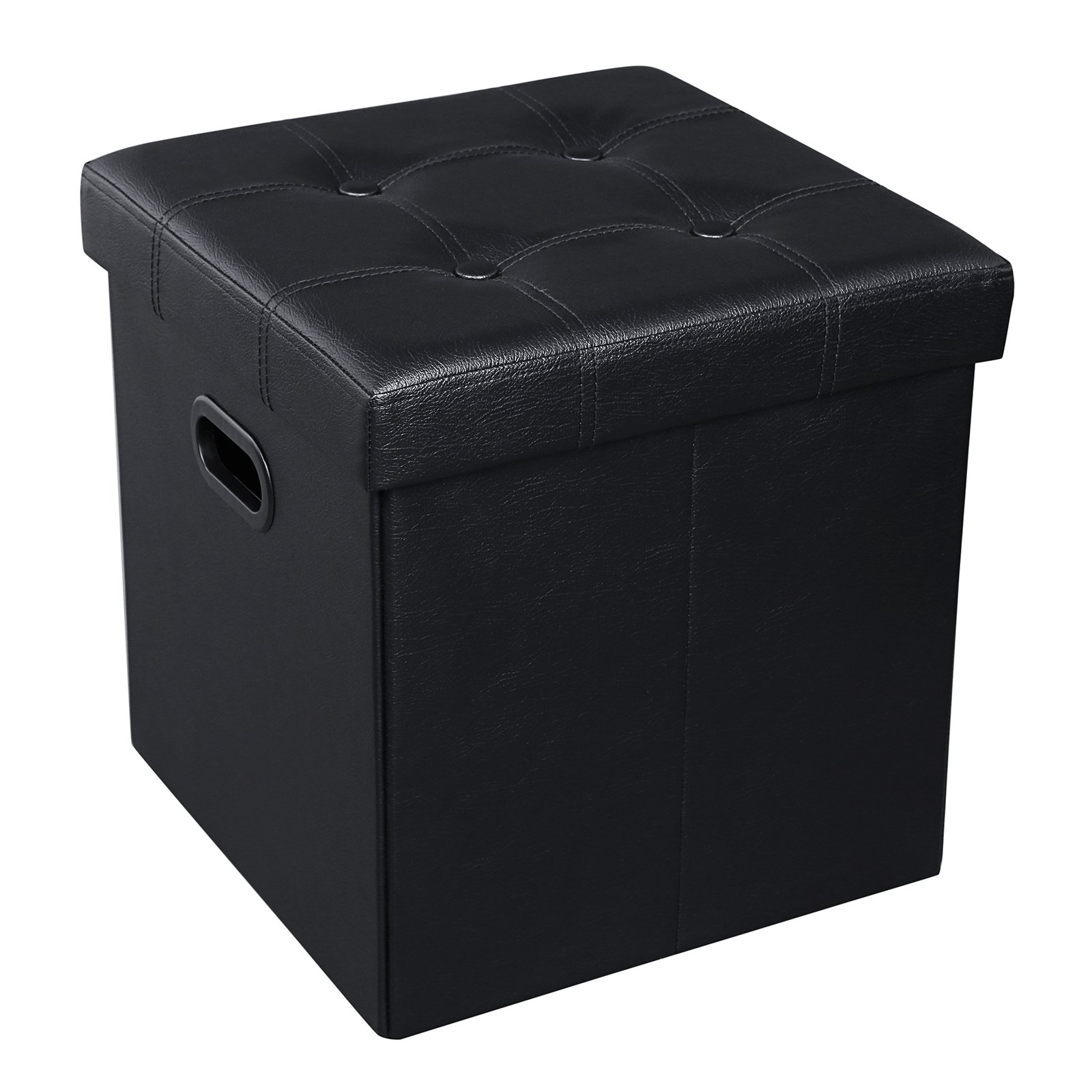 SONGMICS 15'' x 15'' x 15'' Storage Ottoman Cube/Footrest Stool/Puppy Step/Coffee Table with Hole Handle, Holds Up to 660lbs,Faux Leather,Black ULSF30B