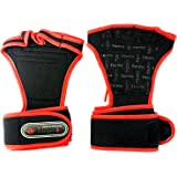 NEW Weight Lifting Gloves Fitness Gym Training Gloves Long Wrist Wrap Gloves (Red, L (for men))