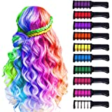 10 Color Hair Chalk for Girls Kids Christmas Gift,Temporary Bright Hair Color Chalk Comb Set for Girls Kids Christmas Birthday Party Cosplay,Washable