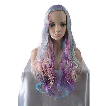 Las mujeres pelucas sintéticas Unicornio miran el arco iris largo onda natural Rosa destacado pelo lado