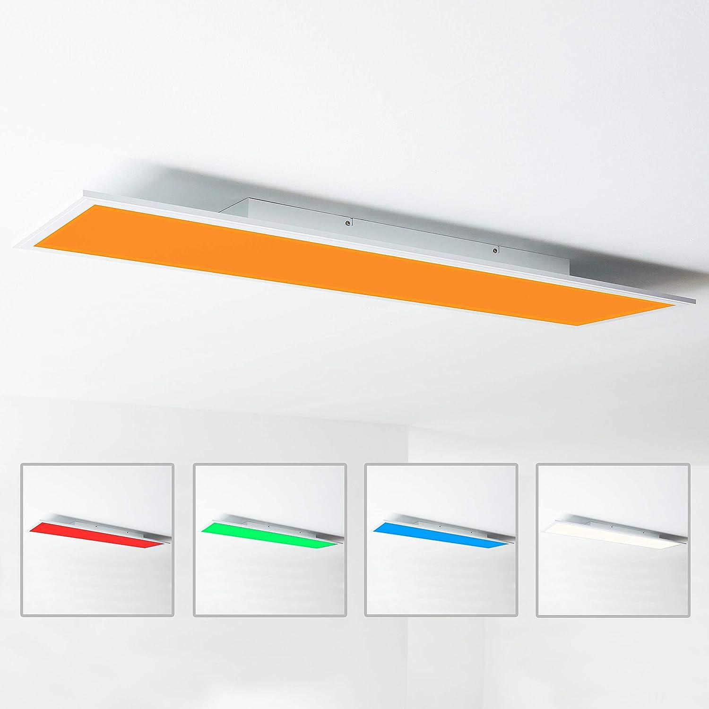 Panel LED de techo, 120 x 30 cm, 40 W, cambio de color RGB mediante mando a distancia, 2700-6500 K, metal/plástico, color blanco