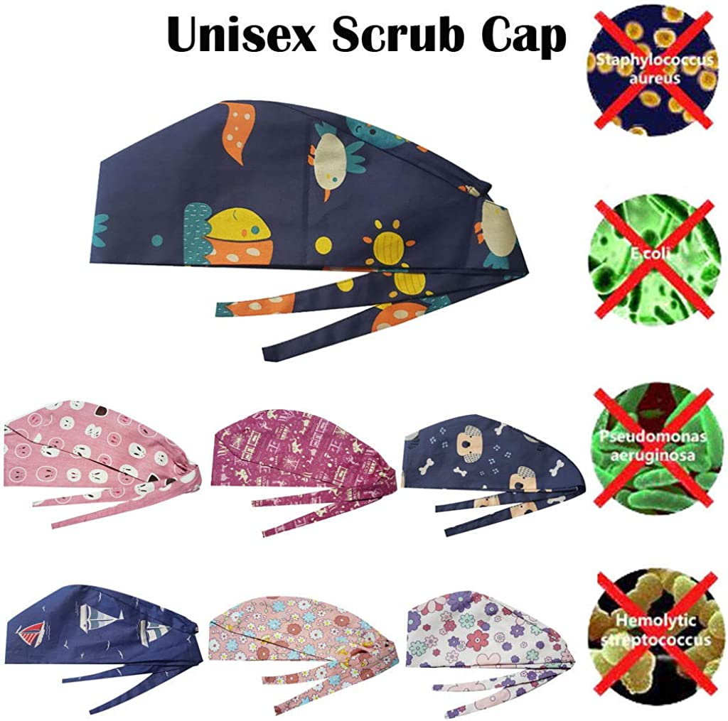CGKUITER Unisex Tie Back Hats One Size Adjustable Working Cap with Sweatband Cute Print Pattern