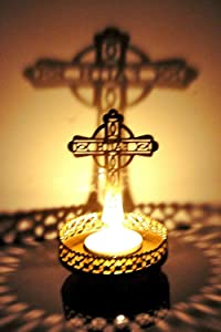 Cross Shadow Tealight Candle Holder Stand Statue Religious for Home/Office Diwali Decoration 1 Piece (Free Tealight Candle)