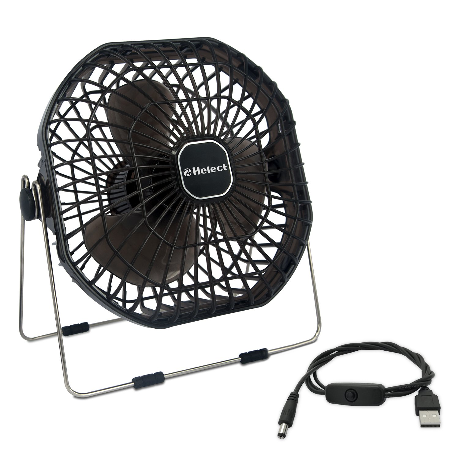 USB Fan, Helect 7-Inch Frame Mini USB Table Desk Personal Fan Quiet Rotatable (Black) - H1055