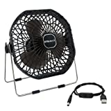 Helect 18cm USB 扇風機 ミニ扇風機 卓上扇風機 USB ファン 個人用 静音設計 360 角度調整 オン・オ フスイッチ 強風 (ブラック)- H1055