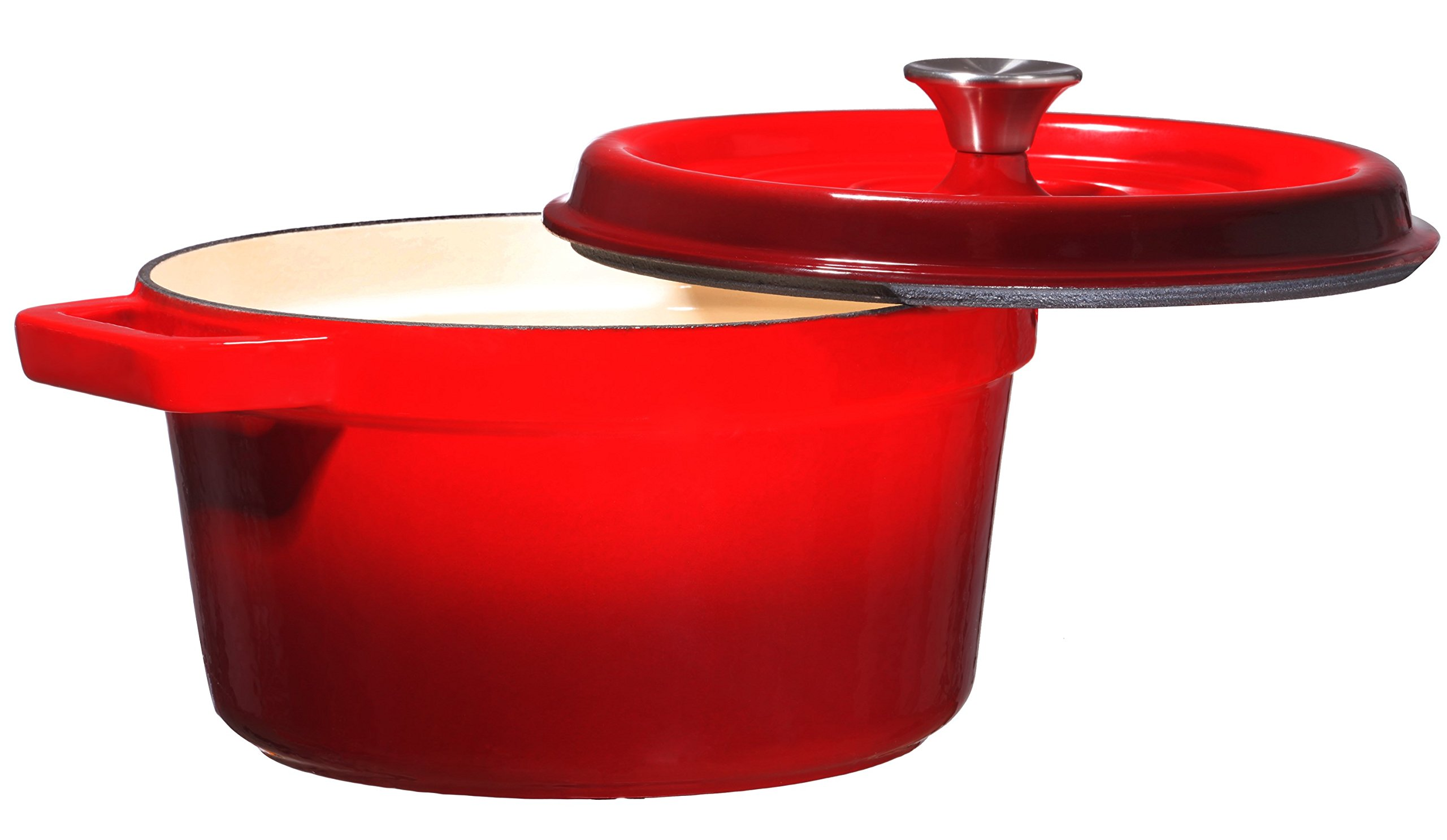Bruntmor, Enameled Cast Iron Dutch Oven Casserole Dish 6.5 quart Large Loop Handles & Self-Basting Condensation Ridges On Lid (Fire Red)