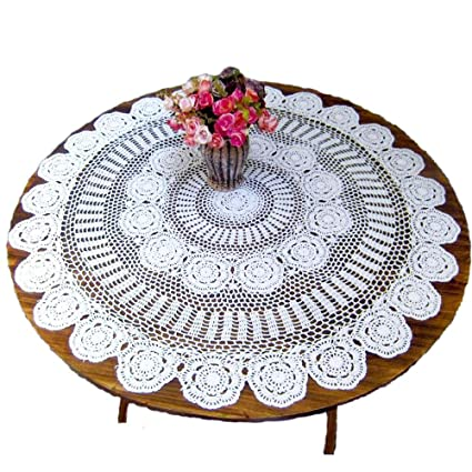 Terrific Kepswet Cotton Handmade Crochet Lace 60 Inch Round Tablecloth White Table Overlay Decoration Home Interior And Landscaping Ferensignezvosmurscom