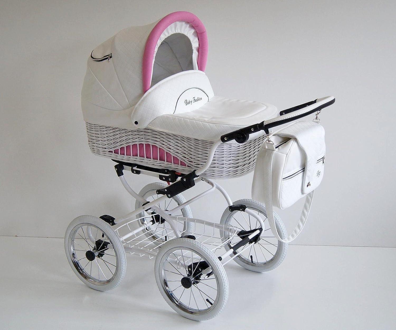 Carro bebe 2 piezas. Clásico! De mimbre y piel. Carrito de cuento de hadas. Blanco+rosa. Scarlett: Amazon.es: Bebé